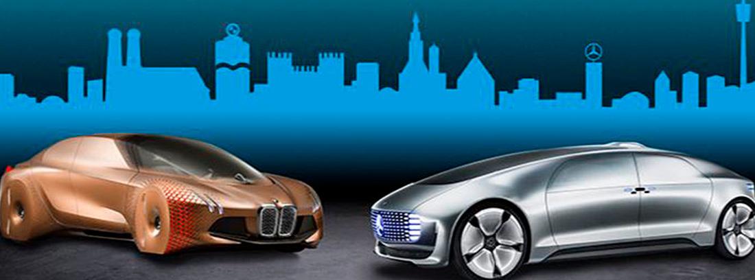 Dos prototipos de coches en dibujo 3D sobre fondo azul.