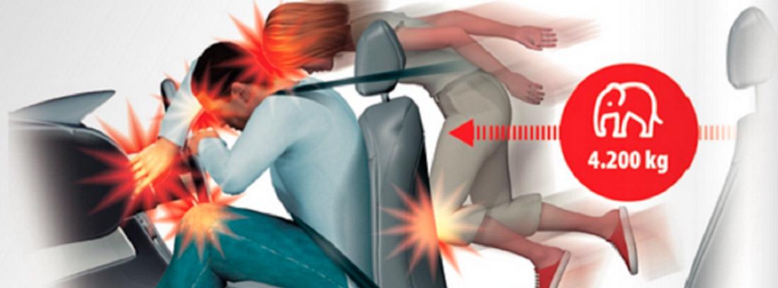 Dibujo de mujer despedida desde la parte trasera de un coche y chocando con conductor.