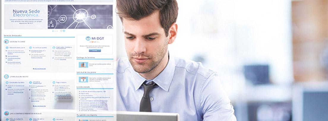 Hombre con camisa y corbata frente a pantalla de ordenador y página nueva DGT.