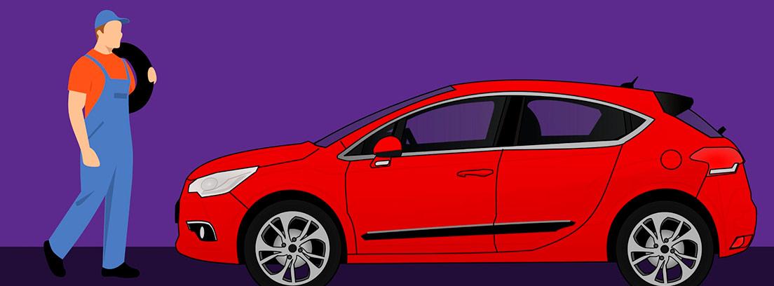 Ilustración de un coche rojo y un hombre con un mono de trabajo y un neumático