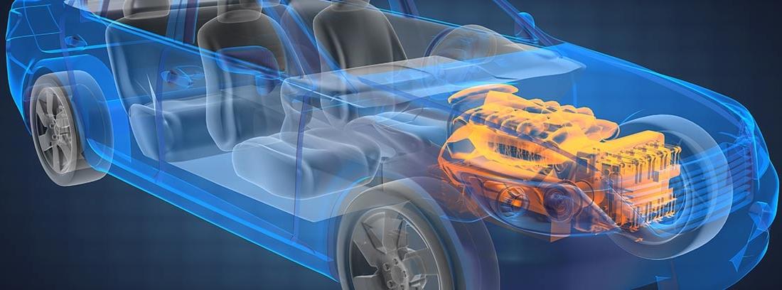 Ilustración de un coche transparente con el motor a la vista