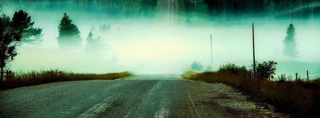 Carretera con un banco de niebla