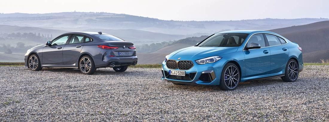 Dos BMW serie 2 Gran Coupé 2.019, uno en color plateado y otro azul.
