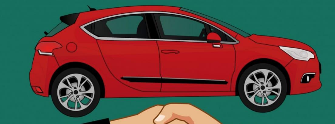 Ilustración de un apretón de manos frente a un coche rojo