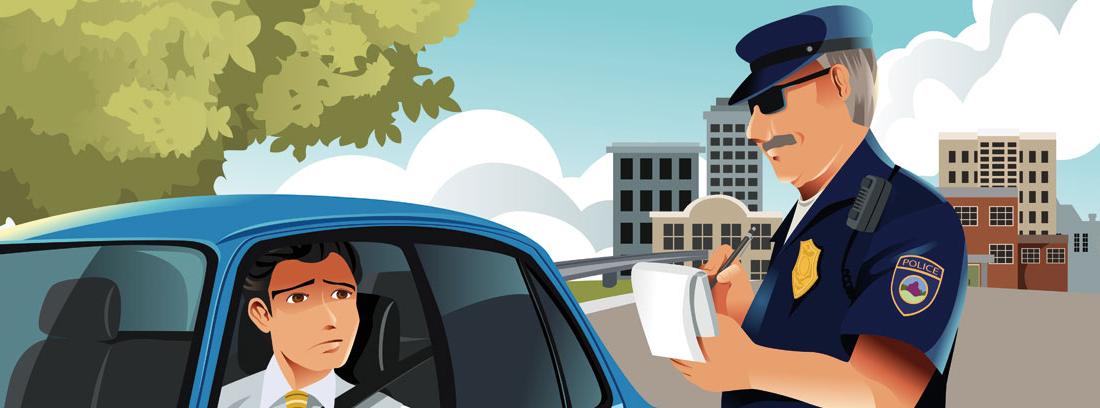 Ilustración de un hombre dentro de un coche y un agente de tráfico rellenando una multa