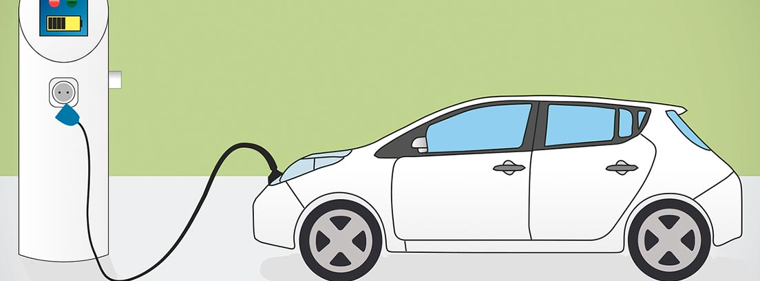 Ilustración de un coche eléctrico enchufado a un punto de recarga