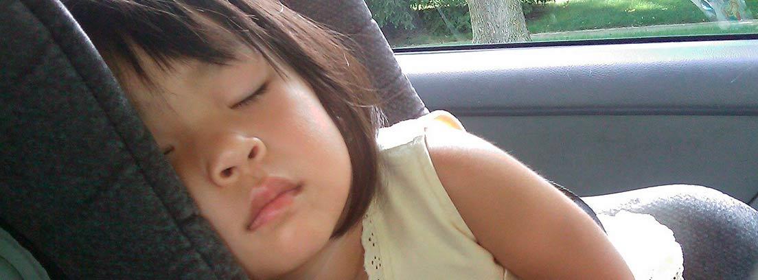 Niña dormida en el interior de un vehículo