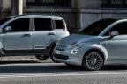 Laterales de los modelos: Fiat 500 Hybrid y Panda Hybrid 2020, en color turquesa.