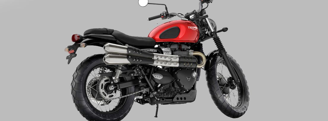 Imagen de moto triumph scrambler en color rojo