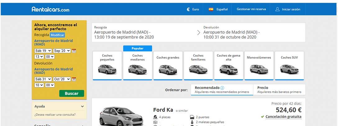 Selección de vehículos Rentalcars
