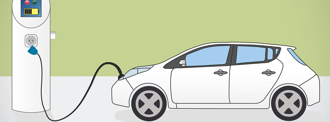 Ilustración de un coche eléctrico