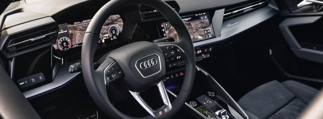 Gráfico del interior del Audi A3 35 TFSI S tronic con los principales elementos señalados