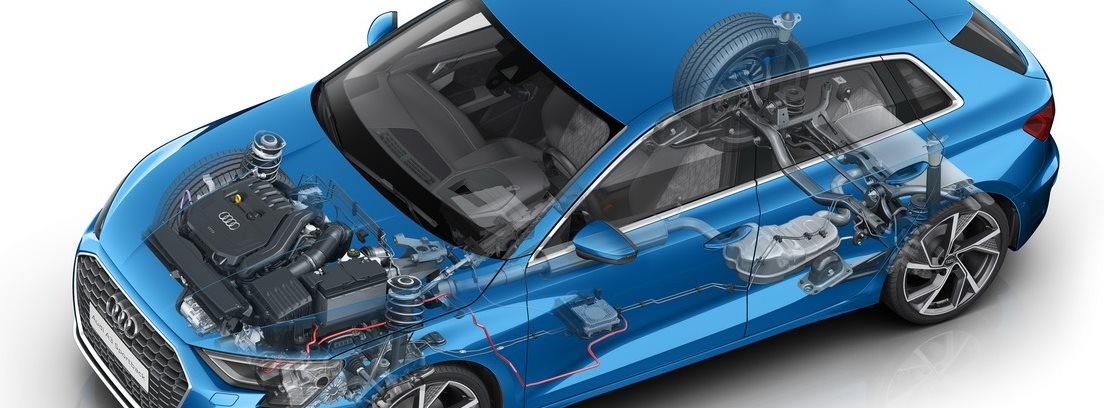 Imagen gráfica del Audi A3 35 TFSI S semitransparente en el que se ve la ingeniería que lo forma