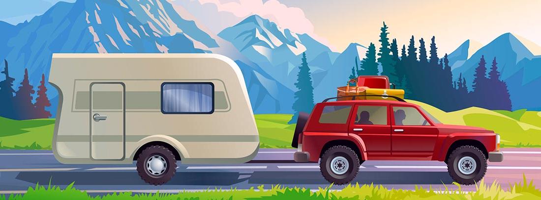 Ilustración de un coche con carnet B y autorización B96 arrastrando en remolque no ligero