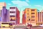 Ilustración de una ciudad con edificios, calles, tiendas y coches