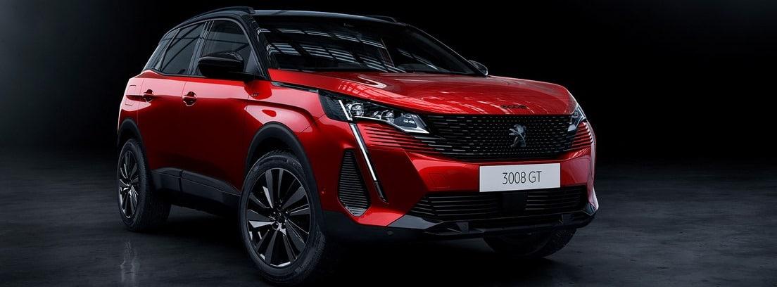 Peugeot 3008 2020 en rojo sobre fondo oscuro