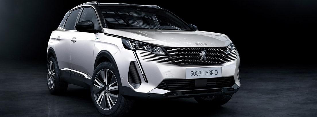 Peugeot 3008 2020 en color blanco sobre fondo oscuro