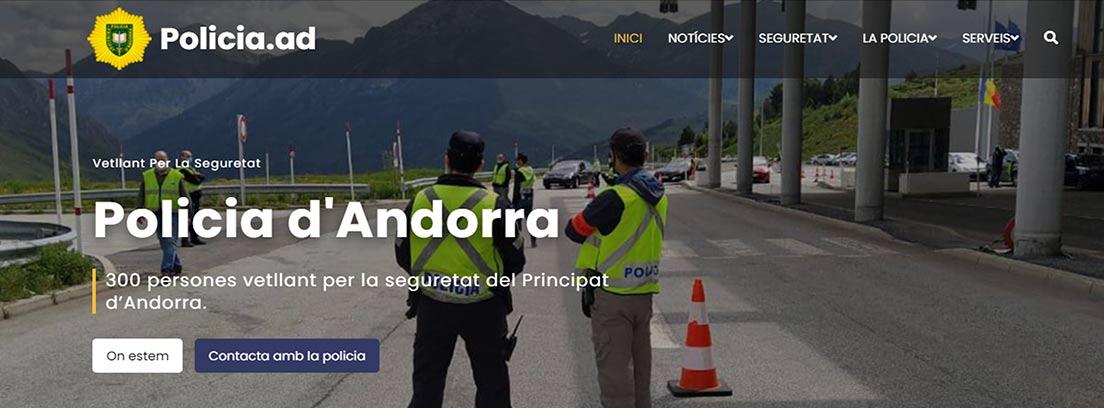 Página principal de la Policía de Andorra
