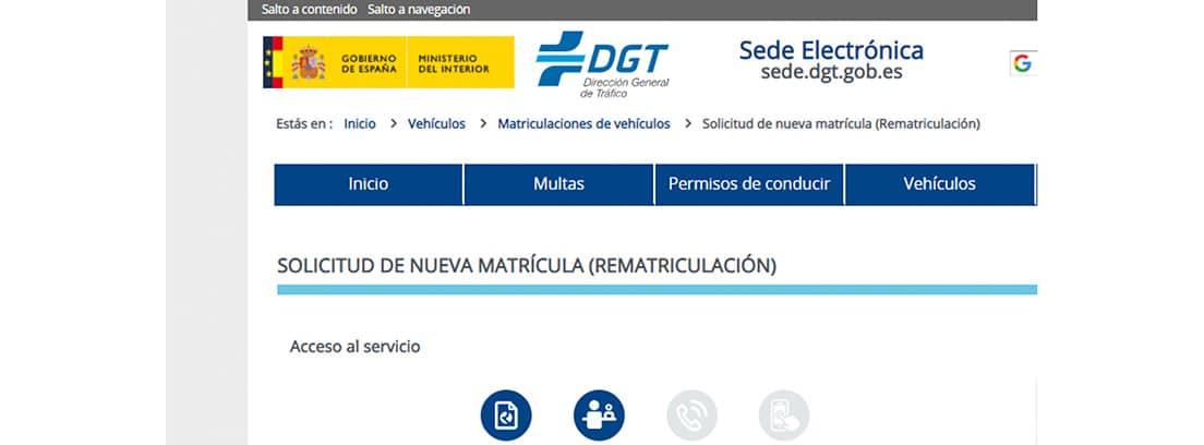 Web de la DGT, rematricular vehículo