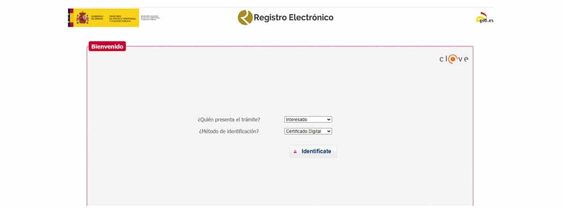 Web del registro electrónico