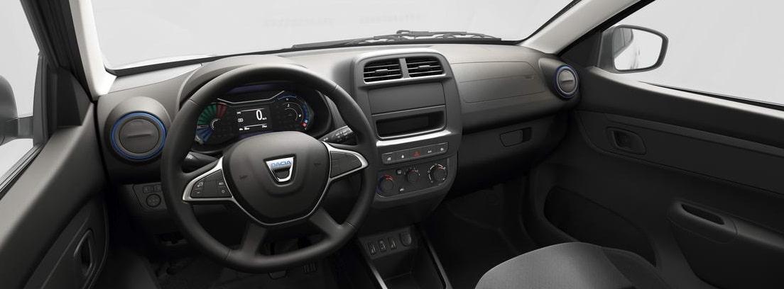 Vista interior del volante y el salpicadero del nuevo Dacia Spring Electric
