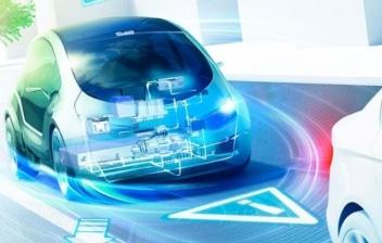 Imagen donde aparece resaltado el circuito eléctrico de un coche