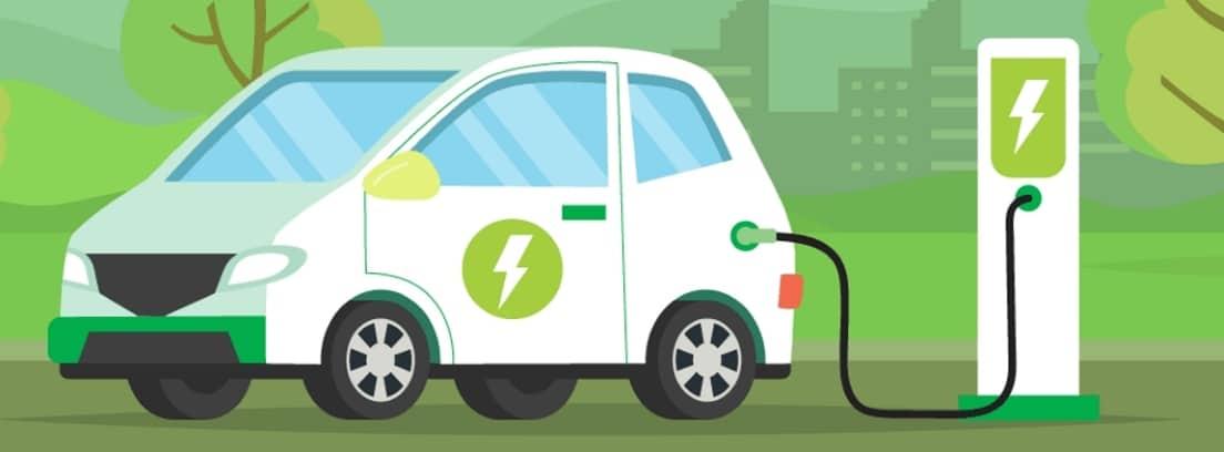 Dibujo de un coche eléctrico siendo cargado en un punto de recarga