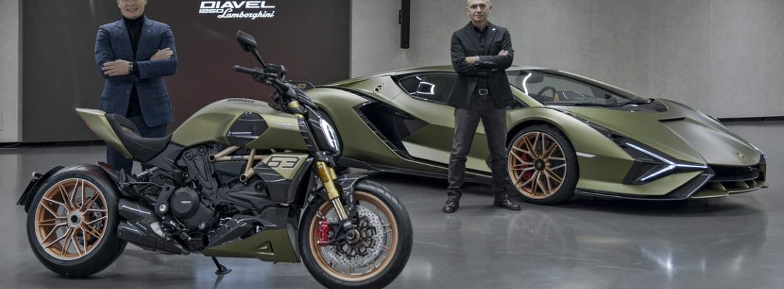 Ducati Diavel 1260 Lamborghini junto al Lamborghini SIÁN FKP 37 en el que se inspira