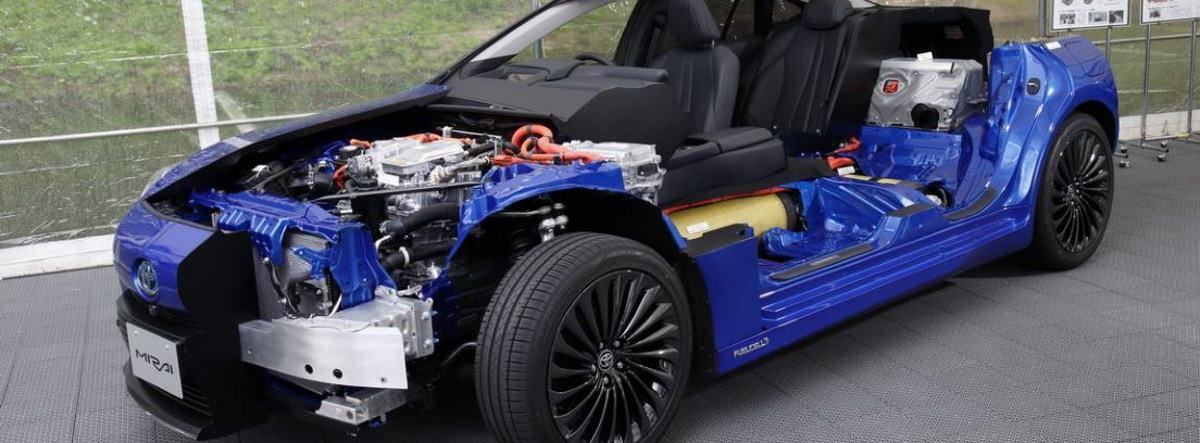 Gráfico de muestra del sistema de motor y propulsores del nuevo Toyota Mirai 2021 azul