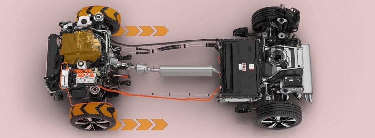 Gráfica del sistema eléctrico y de motores del nuevo Volkswagen Golf GTE