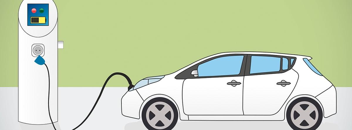 Ilustración de un coche blanco enchufado a un punto de recarga