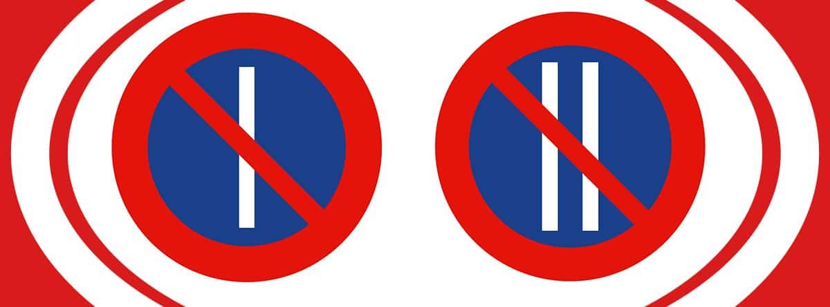Señales R-308a y R-308b de estacionamiento prohibido los días impares y pares