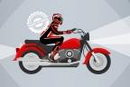 Infografia de un motorista equipado sobre una moto roja