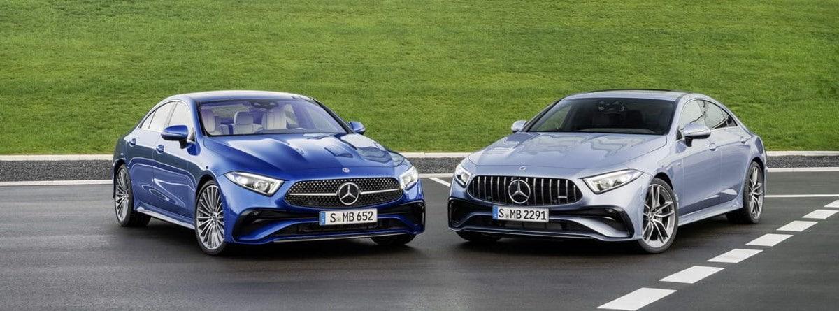 Dos Mercedes CLS, uno azul y otro plateado
